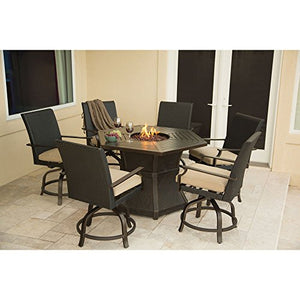 Hanover ASPENCRK7PCFP Aspen Creek 7-Piece Aluminum Rust-Free Outdoor Patio Fire Pit Dining Set with 6 Wicker High-Dining Swivel Chairs, Natural Oat Tan Cushions and Fire Pit Table