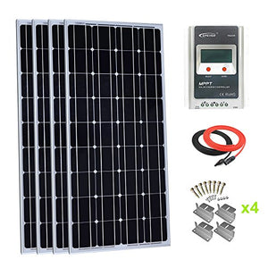 Giosolar 400 Watt Monocrystalline Solar Panel Kit with LCD MPPT 40A Charge Controller + Red/Black Solar Cable + Mounting Z Brackets for RV Boat Off-Grid