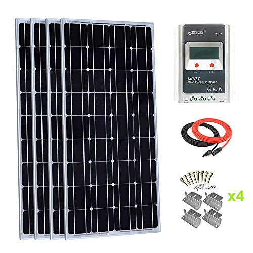 Giosolar 400 Watt Monocrystalline Solar Panel Kit with LCD MPPT 40A Charge  Controller + Red/Black Solar Cable + Mounting Z Brackets for RV Boat