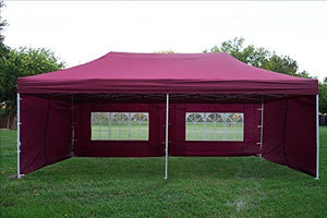 10'x20' Ez Pop up Canopy Party Tent Instant Gazebos 100% Waterproof Top with 6 Removable Sides Maroon - E Model By DELTA Canopies