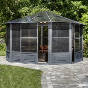 Gazebo Penguin 41212-32 All-Season Solarium Gazebo, 12' x 12', Slate