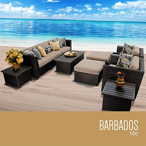 TKC Barbados 10 Piece Patio Wicker Sofa Set in Wheat