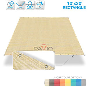 Patio Paradise 10' x 30' Straight Edge Sun Shade Sail, Beige Rectangle Outdoor Shade Cloth Pergola Cover UV Block Fabric - Custom Size Available - 3 Year Warrenty