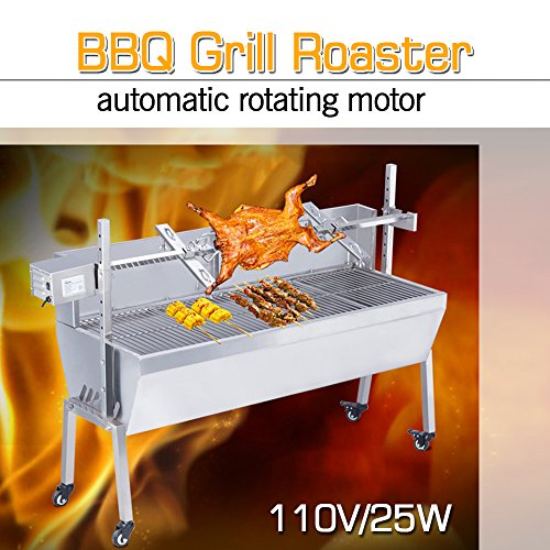 "ZXMOTO Rotisserie BBQ Grill Roaster 46"" Long Pig Lamb Roaster with Windshield Stainless Steel 110V 132LBS"