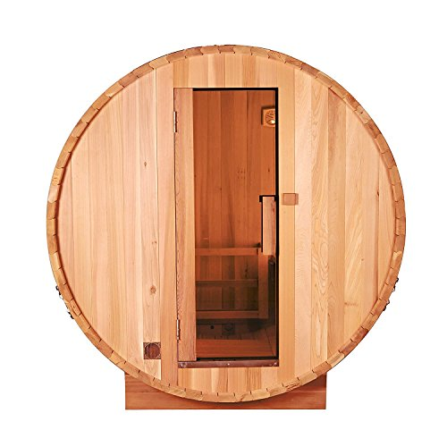 ALEKO SB6CEDAR Rustic Red Cedar Indoor Outdoor Wet Dry Barrel Sauna and Steam Room with Front Porch Canopy 6 kW ETL Certified Heater 6 Person 83 x 72 x 75 Inches