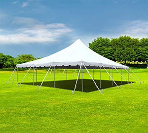 30-Foot by 40-Foot White Pole Tent, Commercial Canopy Heavy Duty 16-Ounce Vinyl for Parties, Weddings, and Events