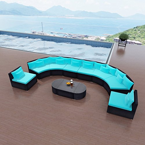 Festnight Outdoor Luxurious Patio Sofa Set Poly Rattan Garden Sofa Sectional Conversation Furniture Set (Blue-2)