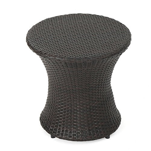 Mystic Outdoor 3 Piece Multi-brown Wicker Stacking Chair Chat Set (Hour Glass Table)