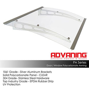 "Advaning PA Series, 59""W x 35""D, Premium Quality Crystal Clear Polycarbonate Door / Window Awning with Silver Brackets, DA5935-PSS1A"
