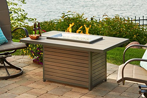 "Brooks Rectangular GAS Fire Pit Table BRK-1224-K with Glass Wind Guard 1224 (50""W x 31""D x 23""H)"