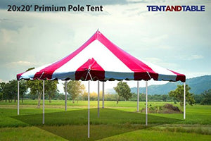 20-Foot by 20-Foot Red and White Pole Tent, Commercial Canopy Heavy Duty 16-Ounce Vinyl for Parties, Weddings, and Events