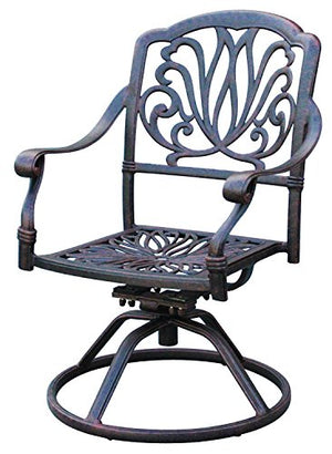 A Pair of 2 Cast Aluminum Swivel Rockers Arm Chair with Cushions GrandPatioFurniture