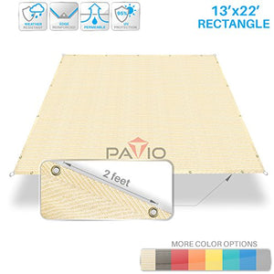 Patio Paradise 13'x22' Heavy Duty Straight Edge Sun Shade Sail,Rectangle 240GSM Shade Canopy Panel Gazebo Pergola Replacement Car Port Awning Customize Available, Beige
