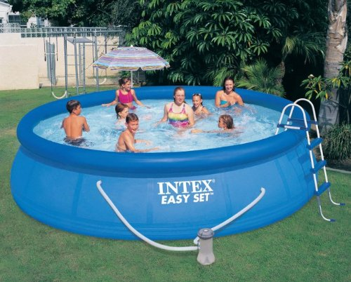 "Intex 15' x 42"" Easy Set Pool with 1000 GPH Pump & Kokido Telsa 10 Pool Vacuum"
