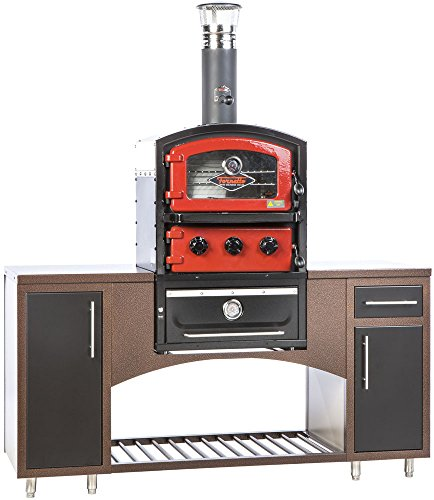 Alfresco Home 82-1004 Fornetto Alto Wood Fired Oven & Smoker for Built-In Use, Brick