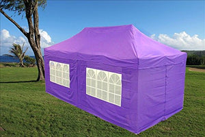 10'x20' Ez Pop up Canopy Party Tent Instant Gazebos 100% Waterproof Top with 6 Removable Sides Purple - E Model By DELTA Canopies