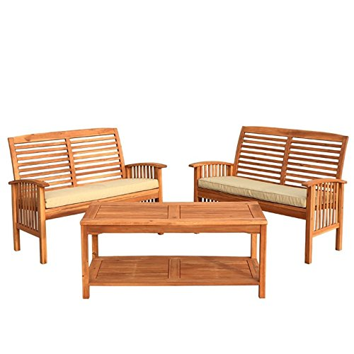 Pemberly Row 3 Piece Acacia Patio Conversation Set in Brown