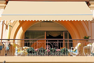 ADVANING MA1410-A002N Manual S Series Window/Door Canopy Sun Shade Patio Awning, Linen Beige
