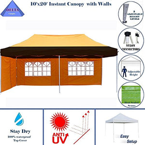 10'x20' Ez Pop Up Canopy Party Tent Instant Gazebos 100% Waterproof Top with 6 Removable Sides Orange Black - E Model By DELTA Canopies