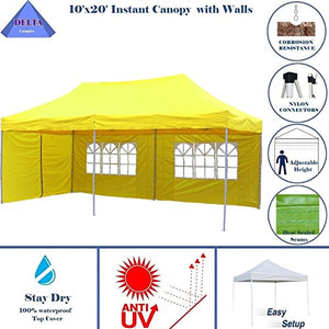 10'x20' Ez Pop up Canopy Party Tent Instant Gazebos 100% Waterproof Top with 6 Removable Sides Yellow - E Model By DELTA Canopies