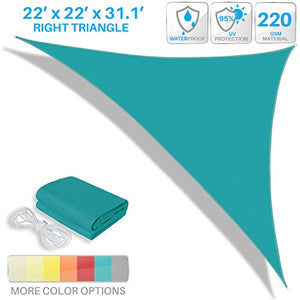 Patio Paradise 22' x 22' x 31.1' Waterproof Sun Shade Sail-Turquoise Green Triangle UV Block Durable Awning Canopy Outdoor Garden Backyard