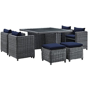Modway 9 Piece Summon Outdoor Sunbrella Canvas Patio Dining Set, Navy