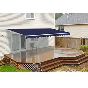 ALEKO AWM20X10BLUE Retractable Motorized Patio Awning 20 x 10 Feet Blue