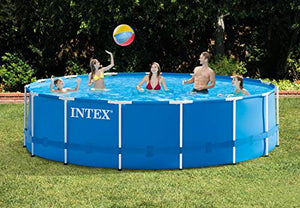 "Intex 15' x 48"" Metal Frame Above Ground Swimming Pool Set w/Pump (2 Pack)"