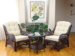 Malibu Rattan Wicker Living Room Set 3 Pieces Dark Brown Coffee Table 2 Lounge Chairs w/Cream Cushions