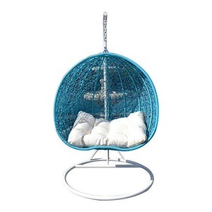 2 Persons Seater Egg Shape Wicker Rattan Swing Lounge Chair Hammock TURQUOISE