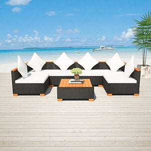 Festnight 7 Piece Outdoor Patio Garden Rattan Wicker Sofa Set, Poly Rattan WPC Black
