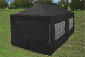 10'x20' Ez Pop up Canopy Party Tent Instant Gazebos 100% Waterproof Top with 6 Removable Sides Black - E Model By DELTA Canopies