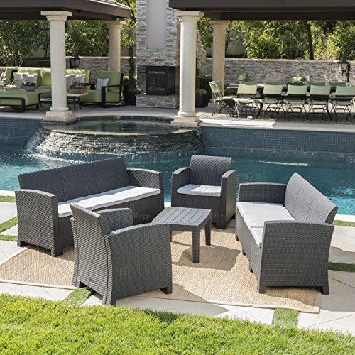 Great Deal Furniture Jacob Outdoor 5 Piece Charcoal Faux Wicker Rattan Style Chat Set with Sofa and Light Grey Water Resistant Cushions