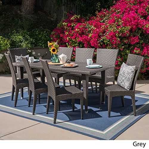 Great Deal Furniture Powell Outdoor 9 Piece Wicker Dining Set, Grey