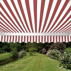 ALEKO AW12X10RWSTR05 Retractable Patio Awning 12 x 10 Feet Red and White Striped