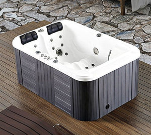 Symbolic Spas 2 Person Hot Tub Spa Outdoor Hydrotherapy Double Lounger Insulated Hard Cover - 220-240 Volt/40 Amp - 31 Jets - 1.5 HP Pump - 3KW Heater - Ozonator