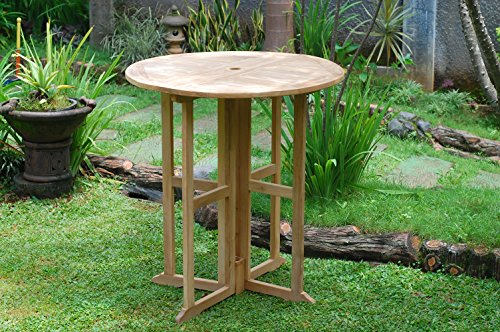 "Windsor's Genuine Grade A Teak Bimini 47"" Round Dropleaf Counter Table w/4 St Moritz Swivel Counter Arm Chairs,Counter Height 5"" lower than Bar.Teak Lasts A Lifetime! Assembled"