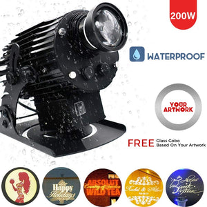 200W High Power Outdoor IP65 Waterproof LED GOBO Advertising Light Square Engineering Lighting Custom Logo Rotating Projection Lamp,WideAngle(1:0.5)