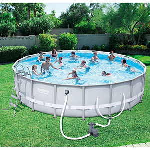 "Bestway 18' x 48"" Power Steel Frame Above-Ground Pool w/o Parts"