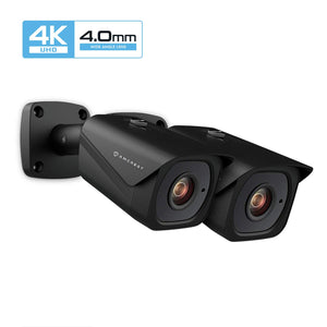 2-Pack Amcrest UltraHD 4K (8MP) Outdoor Bullet POE IP Camera, 131ft NightVision, 4.0mm Narrower Angle Lens, IP67 Weatherproof, 88° Viewing Angle, MicroSD Recording, Black (2PACK-IP8M-2496EB-40MM)