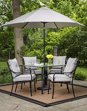 Hanover Lavallette 5 Piece Dining Set in Gray with Table Umbrella and Stand