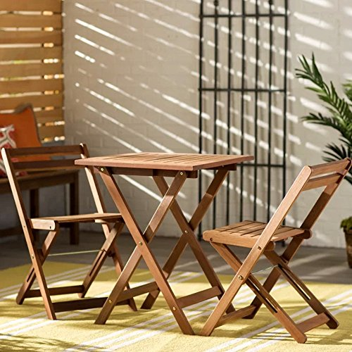 High Top Patio Table and Chairs Set for Indoor and Outdoor Combo, 3 Piece Wooden Garden Bistro Coffee Square Table with 2 Chairs, Modern Inexpensive Patio Dining Table & E-Book