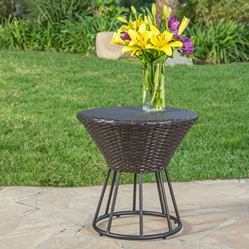 Álfheimr Outdoor 3 Piece Multi-brown Wicker Stacking Chair Chat Set (Framed Hour Glass Table)