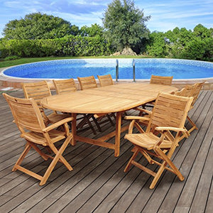 Brampton Teak 11-pc Patio Dining Set Piece, Brown