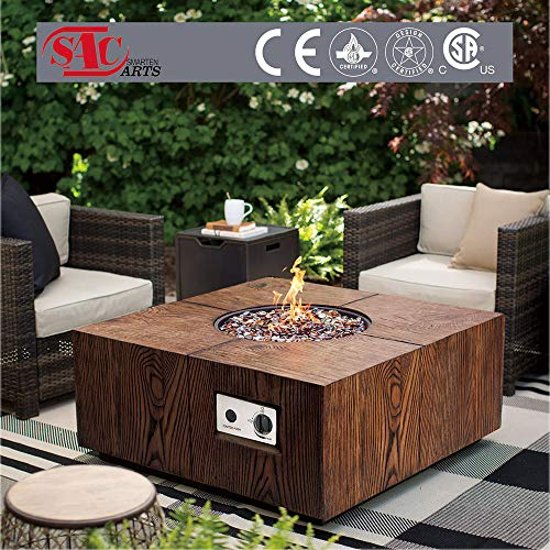 Fantastic Outdoor Propane Gas Fire Pit, 27.5 inches Square Hand Crafted Wood Block with Pine Grain Finish for Garden/Patio/Balcony/Lawn