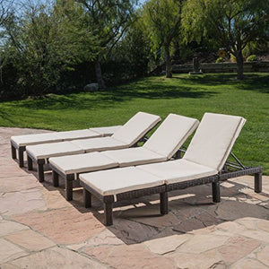 Great Deal Furniture Jessica Outdoor Multibrown Wicker Chaise Lounge with Cream Water Resistant Cushion (Set of 4)