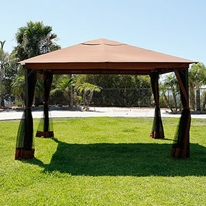 10' x 12' Metal Patio Gazebo Canopy Opt W/ Mosquito Flys Net