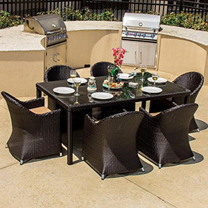 Lakeview Outdoor Designs Providence 6 Person Resin Wicker Patio Dining Set, Espresso