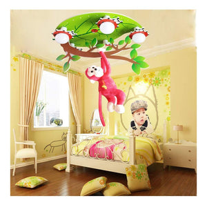 -Ceiling light Children Roomceiling Lamp, Room Cartoon Little Monkey Fantasy Forest Kindergarten Lighting Home Improvement Creative Cartoon Children Lamp Ladybug Leaves Bedroom Ceiling LED Lamp Corrid