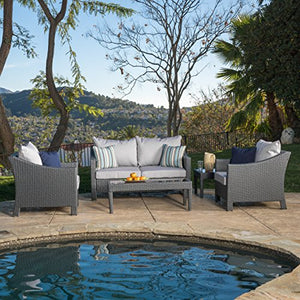 Caspian Grey 4 piece Outdoor Wicker Furniture Patio Chat Set